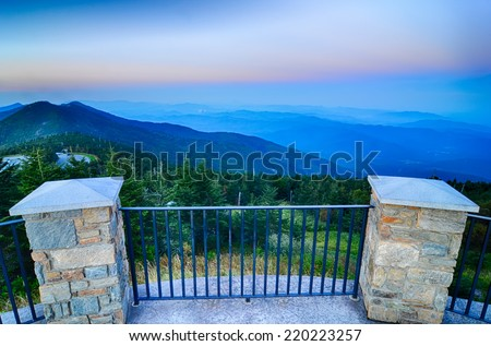 top of mount mitchell before sunset - stock photo