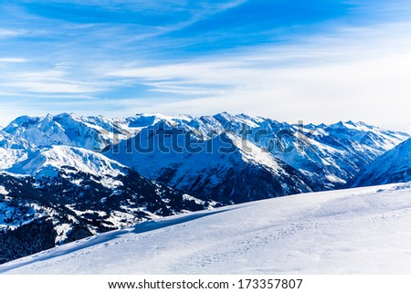 top of mountains. High mountains under snow - stock photo