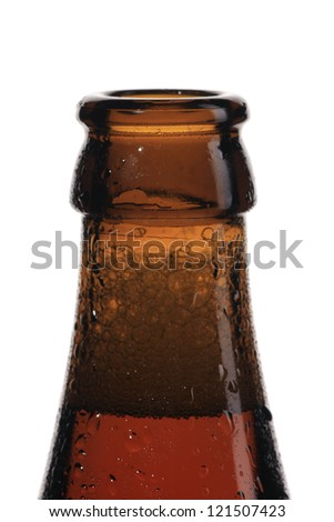 Top of opened wet beer bottle isolated on white - stock photo