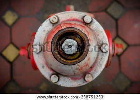 Top of Outdoor Water Hydrant in the rain day - stock photo