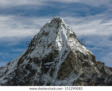 Top of peak Chola (6069 m) in the area of Cho Oyu - Gokyo region, Nepal, Himalayas - stock photo