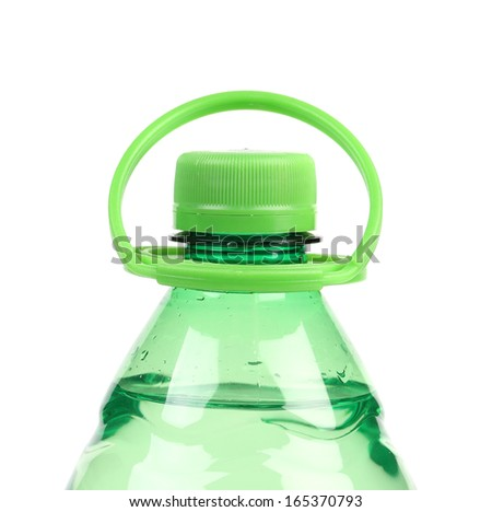 Top of plastic bottle with water. Isolated on a white background. - stock photo