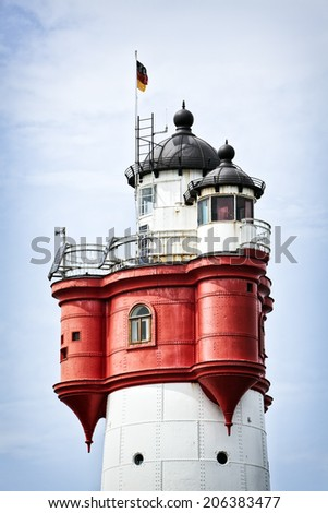 Top of Roter Sand lighthouse in the german North Sea  - stock photo