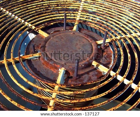 Top of rusty AC unit outside - stock photo