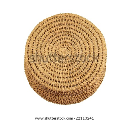 top of tan African string basket with lid isolated on a white background - stock photo