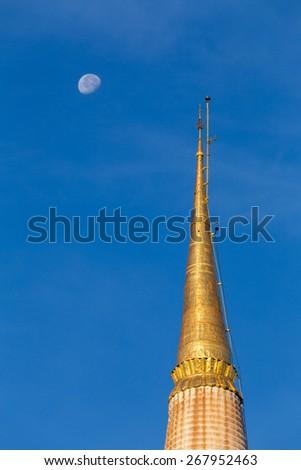 Top of the ancient stupa, Historic southern Thailand: Wat Phra Mahathat Woramahawihan. Nakhon Si Thammarat.  - stock photo