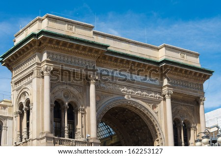 top of the famous Galleria Vittorio Emanuele II in Milan - stock photo