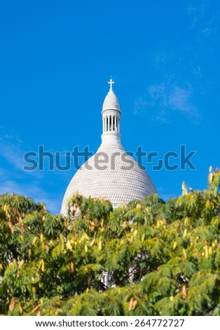 top of the famous sacre coeur in montmartre, paris - stock photo