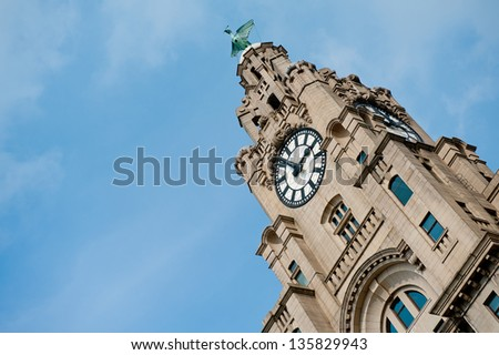 Top of the Liver-Building Liverpool - stock photo