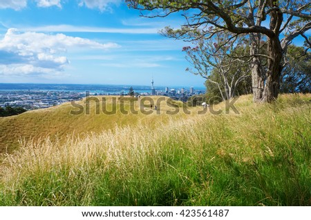 Top of the Mount Eden volcano  with view of Auckland. High peak of the tourist season. - stock photo