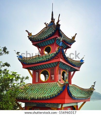 Top of the Shibaozhai Pagoda - Shibao, Chongqing, China - stock photo