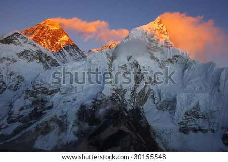 Top of the world Everest 8848m and Nupse 7864m  from Kalapattar, 5545m - stock photo