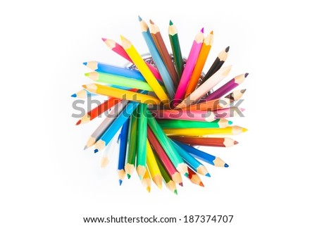 top of view of colorful pencils in container isolated on white background with space for text - stock photo