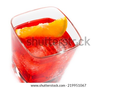 top of view of red cocktail with orange slice isolated on white background with space for text - stock photo