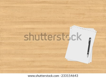 Top office table with papers and pen - stock photo