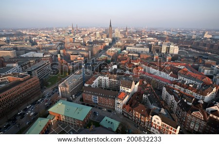 top panoramic view of Hamburg city, Germany - stock photo