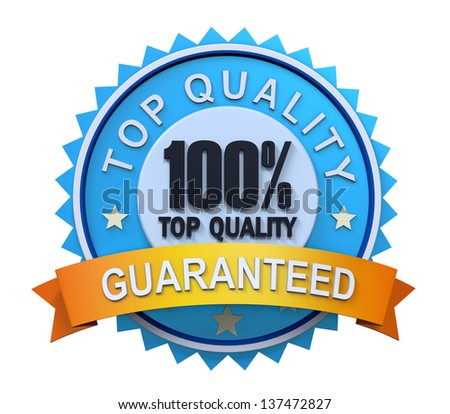 Top Quality Guaranteed Label with Gold Badge Sign - stock photo