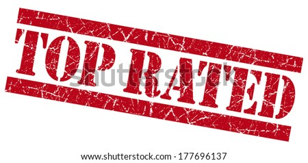 Top rated red grunge stamp - stock photo