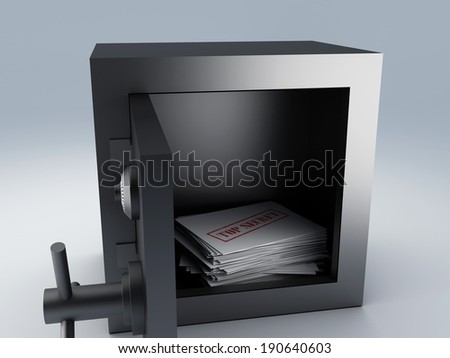 top secret archive in steel safe box, 3d illustration.  - stock photo