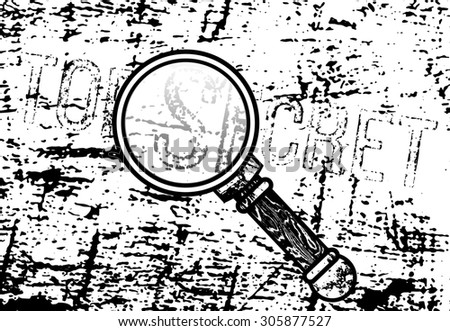 Top Secret inscription with a magnifying glass and ink marked paper in background. May be used separately or as a whole. - stock photo