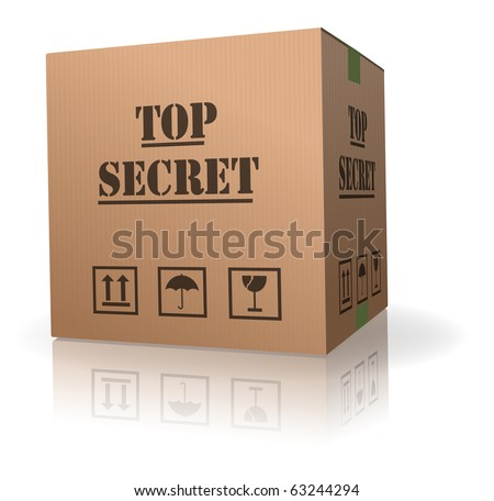 top secret package cardboard box with important information - stock photo