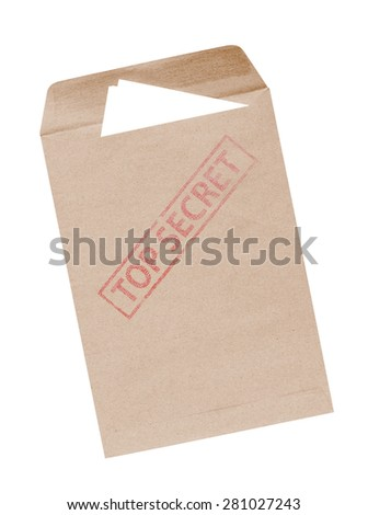 Top Secret package isolated over a white background. - stock photo