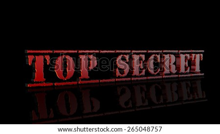 Top Secret, red 3D stamp on black background - stock photo