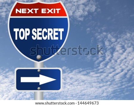 Top secret road sign - stock photo