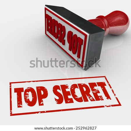 Top Secret words stamped in red ink to restrict access to confidential, sensitive or classified communication - stock photo