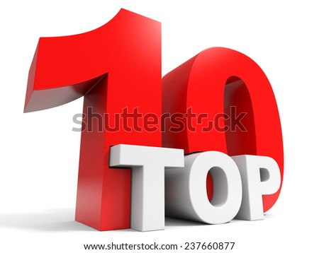 Top 10. Ten. 3D illustration. - stock photo