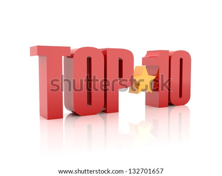 Top ten red word  isolated on white background. 3D illustration. - stock photo