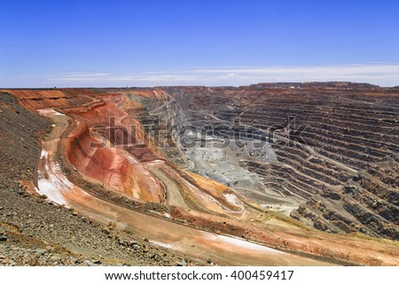 Top to bottom of the biggest australian gold mine - super pit in Kalgoorlie, Western AUstralia, on a sunny summer day. - stock photo