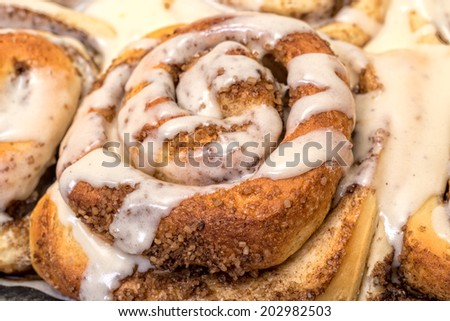 Top View Appetizing Cinnamon Buns, closeup - stock photo
