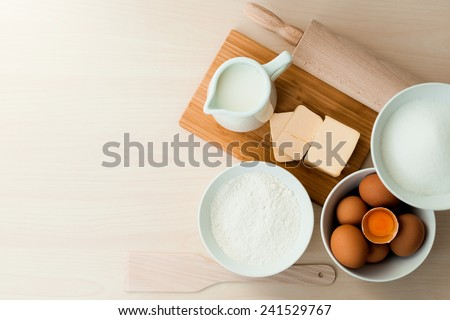 Top view bake ingredients - stock photo