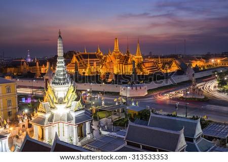 Top view Bangkok ,Golden Temple Wat Phra Kaeo at sunset, Temple of the Emerald Buddha Bangkok, Asia Thailand - stock photo