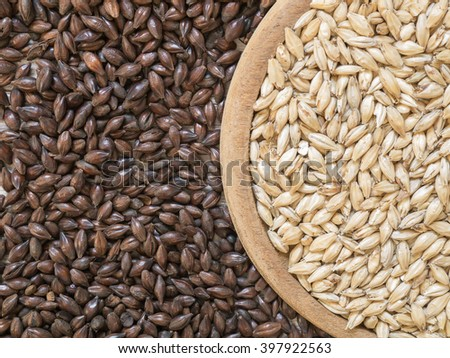 Top view - Beer ingredients, Pale ale malt and Chocolate malt on wooden background - stock photo