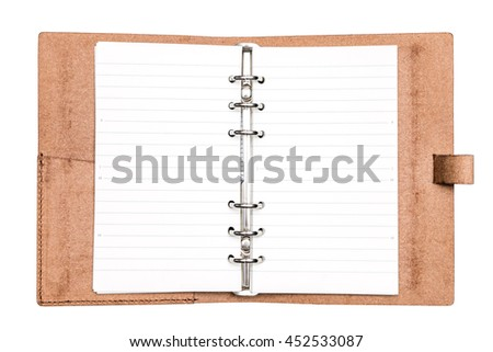 top view blank brown leather personal organizer isolate on white background - with clipping path - stock photo