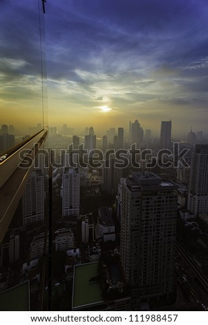 Top view building sunset time in the middle of Bangkok of Thailand - stock photo