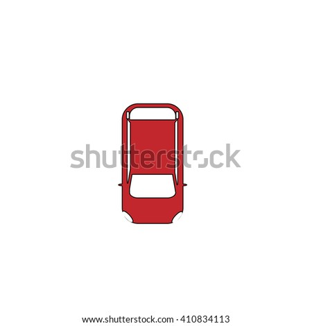 top view car Simple red icon on white background. Flat pictogram - stock photo