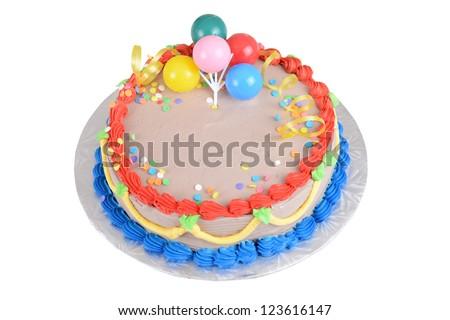 Top view chocolate birthday cake - stock photo