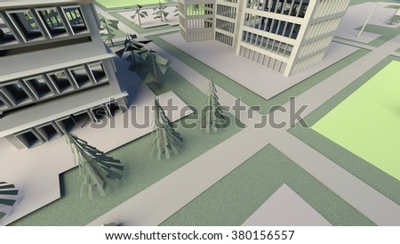 top view city abstract - crossroad - stock photo