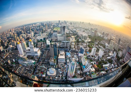 Top view city, Bangkok , Thailand - stock photo