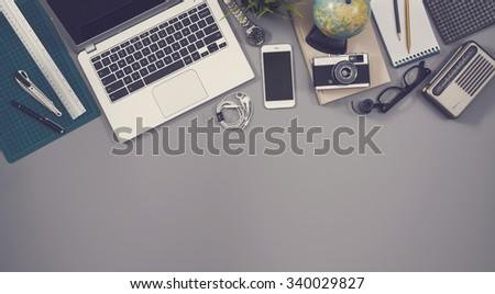 Top view desk hero header - stock photo