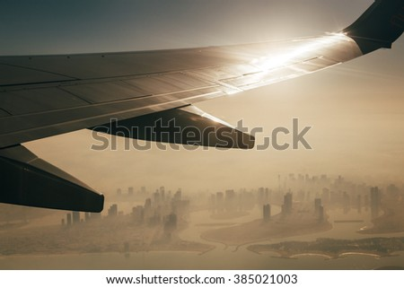Top view from airplane - stock photo