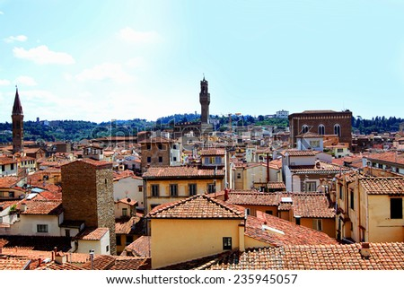 Top view from Campanile Giotto on the historical center of Florence, Italy  - stock photo