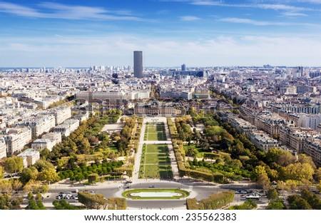 Top view from Eiffel tower on famous Champs de Mars. Paris. France  - stock photo
