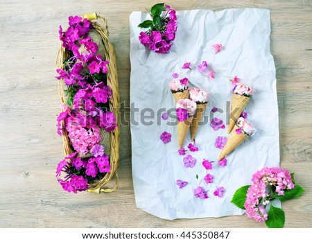 top view gifts ,flat lay gifts and flowers ,on a wooden vintage background with copy place - stock photo