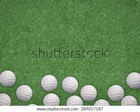 top view golf balls on turf background - stock photo