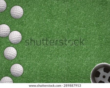 top view golf balls with golf cup on green background - stock photo