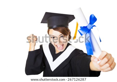 top view happy young woman graduating holding diploma - stock photo